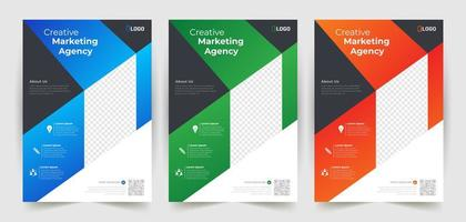 Business Flyer Template Set with Angled Shapes