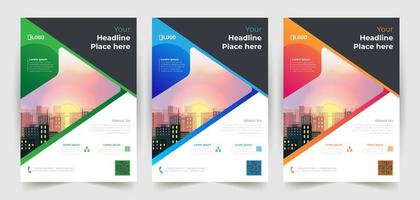 Corporate Flyer Set with Angled Space for Image