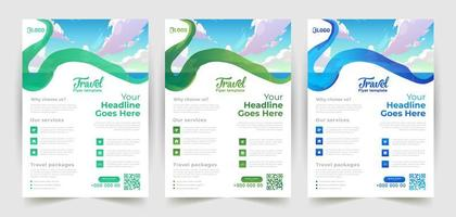 Wavy Brush Stroke Travel Flyer Design