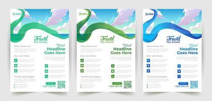 Wavy Brush Stroke Travel Flyer Design vector
