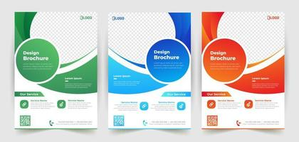 Business Flyer Template Set with Curved Details vector