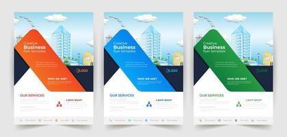 Business Flyer Template with Ribbon Design