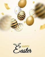 Cartel vertical de celebración de Pascua con huevos cayendo y confeti