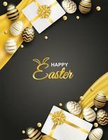 cartel vertical con huevos de pascua y cajas de regalo