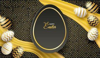 Cartel de Pascua con fondo de brillo y huevos