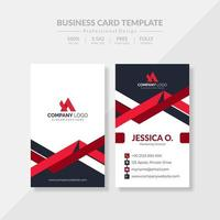 elegante tarjeta de visita roja vertical