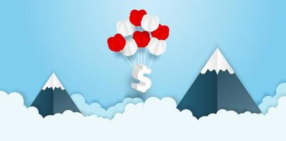 Dollar Sign Balloon Bouquet in Sky with Mountains vector