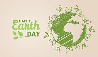 Earth day design with globe map drawing and leaves vector