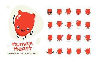 conjunto de caracteres do coração humano vermelho vetor