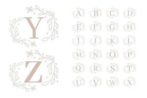Feminine floral Alphabet  vector