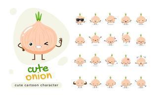 Cute Onion Character Set vector