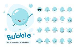 conjunto de caracteres de mascote bolha azul vetor