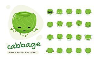 conjunto de caracteres de repolho verde bonito vetor