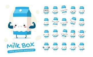 conjunto de caracteres de mascote de caixa de leite vetor