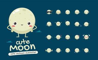 Cute Moon Mascot Character Set vector