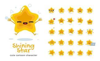 conjunto de caracteres de la mascota estrella vector