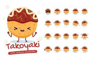 conjunto de caracteres da mascote takoyaki vetor
