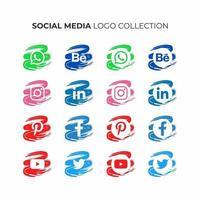 collection de logos de médias sociaux vecteur