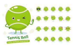 conjunto de caracteres de mascote de bola de tênis vetor