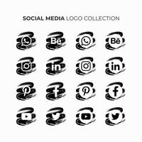 Social Media Logo Collection in Black and White. vector