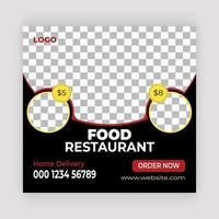 Round Frame Food Social Media Post Template vector