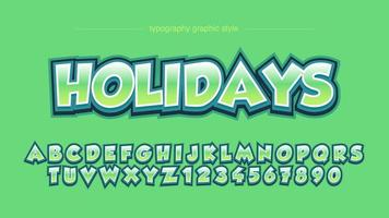 Green Bold 3D Cartoon Comics Typography vector