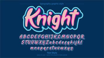 Neon Blue Pink Calligraphy Graffiti Style vector