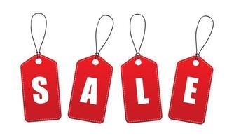 etiquetas rojas de '' venta '' vector