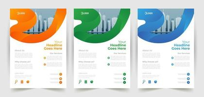 Business Flyer Template with Curved Line Border