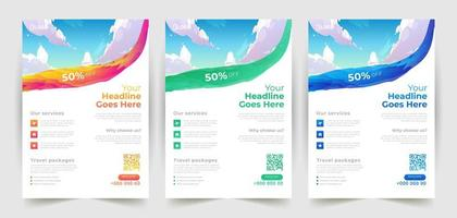 Travel Flyer Design Templates with Brush Stroke vector