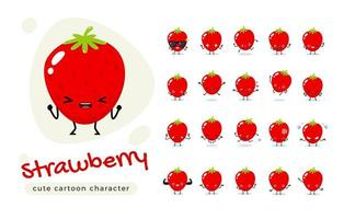 Red Strawberry Cute Character Set vector