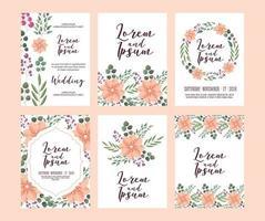 conjunto de conjunto de tarjeta de boda floral