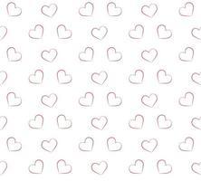 patrones sin fisuras con corazones de contorno rojo vector