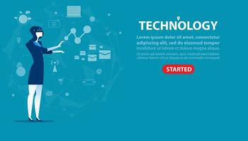 Businesswoman and Technology Landing Page