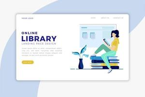 Online Library Landing Page vector