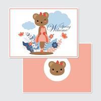 urso cartão de boas vindas vetor