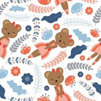 Bear And Flowers Seamless Pattern vector
