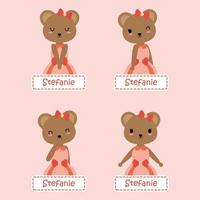 Cute Bear Sticker Name