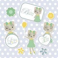 Cute Cat For Sticker Set
