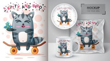 Kitty and Bird Skate Boarding  vector