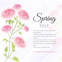 Spring sales banner with watercolor rose