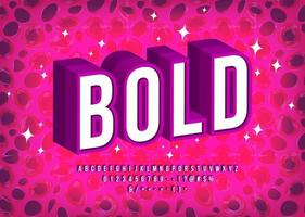 Bold 3d Font in White with Purple Outline vector