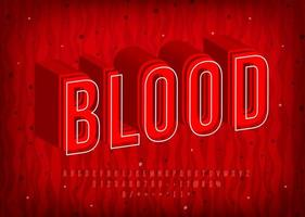 Blood Alphabet with thermal hot letters