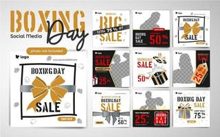 Boxing Day Fashion Social Media Post Template in Black and Gold
