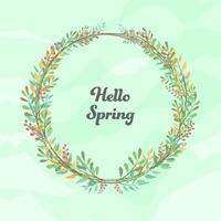 hola primavera acuarela rama flor guirnalda vector