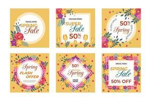 venta de primavera redes sociales y banners de red vector