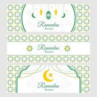 tarjeta de felicitación verde y blanca de Ramadán