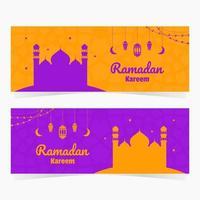 set di banner ramadan kareem luminosi