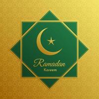 saludo geométrico verde y dorado de Ramadán
