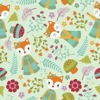 Cute Fox And Flowers Background Pattern vector